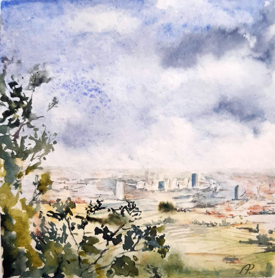 A watercolour of Vienna from above